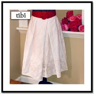 Lovely tibi Full White Skirt w/White Slip Beneath